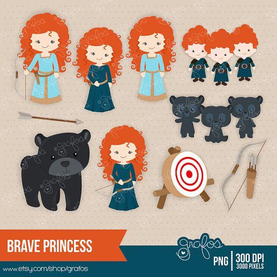 BRAVE PRINCESS  Digital Clipart Princess Merdia, Digital Clipart Princess / Personal and Commercial Use  / Descarga Instantanea on Etsy, $5.00