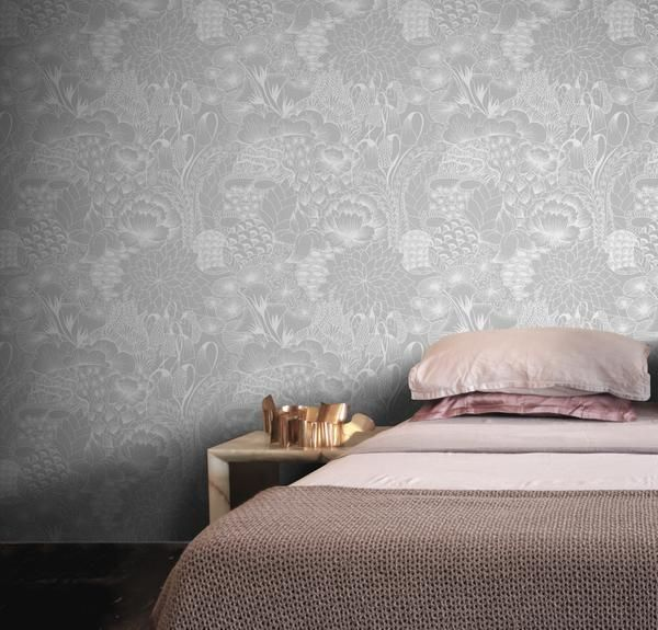 Feathr Bloom wallpaper in Shadow. Grace HamannÍs hand-drawn illustrations are endlessly explorable. In Bloom, she mixes her Japanese heritage with a western aesthetic to create a richly detailed natural world.
