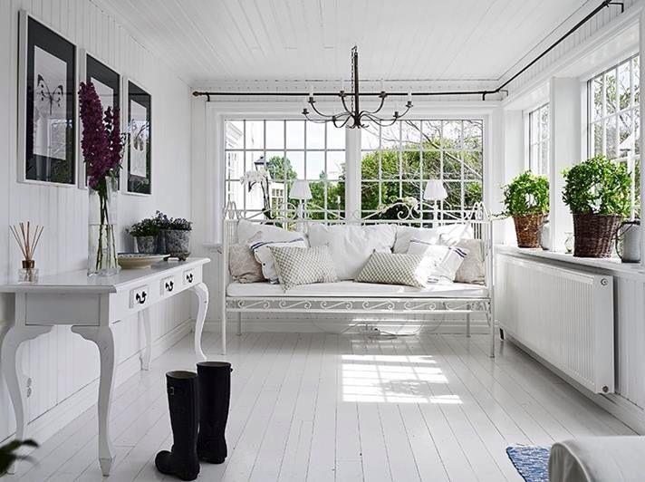 All White Cottage Sunroom