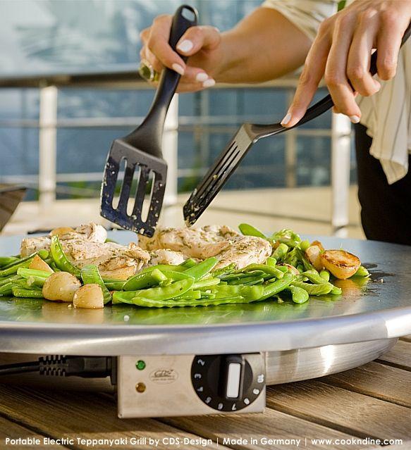TEPPANYAKI GRILL PORTABLE FLATTOP | ELECTRIC indoor + outdoor tabletop use, round or rectangular. Visit cookndine.com