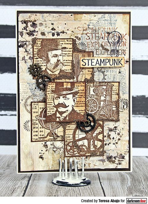 Card by Teresa Abajo using Darkroom Door Steampunk Squares Collage Stamp and Steampunk stamp set