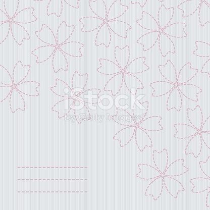 Japanese fancywork. Sashiko card. Sakura flowers. herry Blossoms. Floral postcard. Antique fancywork with copy space for text. Banner with sakura blossoms. Tender colors.