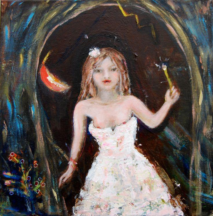 'Wondering young girl' acryl