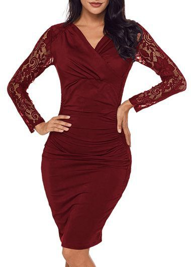 Lace Panel Wine Red V Neck Ruched Dress on sale only US$34.90 now, buy cheap Lace Panel Wine Red V Neck Ruched Dress at liligal.com