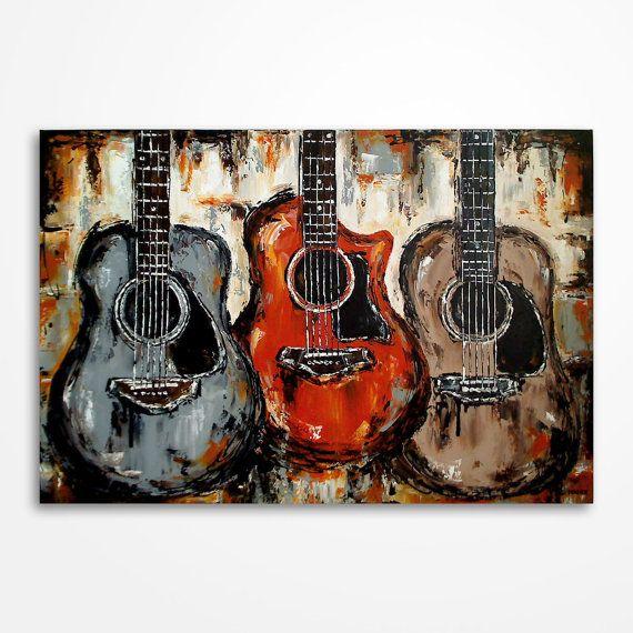 Acoustic guitar painting Music art Rustic decor Guitar art, Original palette knife guitar painting by MagierFineArt