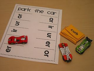 """bossy r"" activity--anything with Matchbox cars is a winner!"