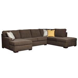 Broyhill Furniture Raphael Three Piece Sectional Sofa - Item Number: 6636-8+6636-5+6636-7