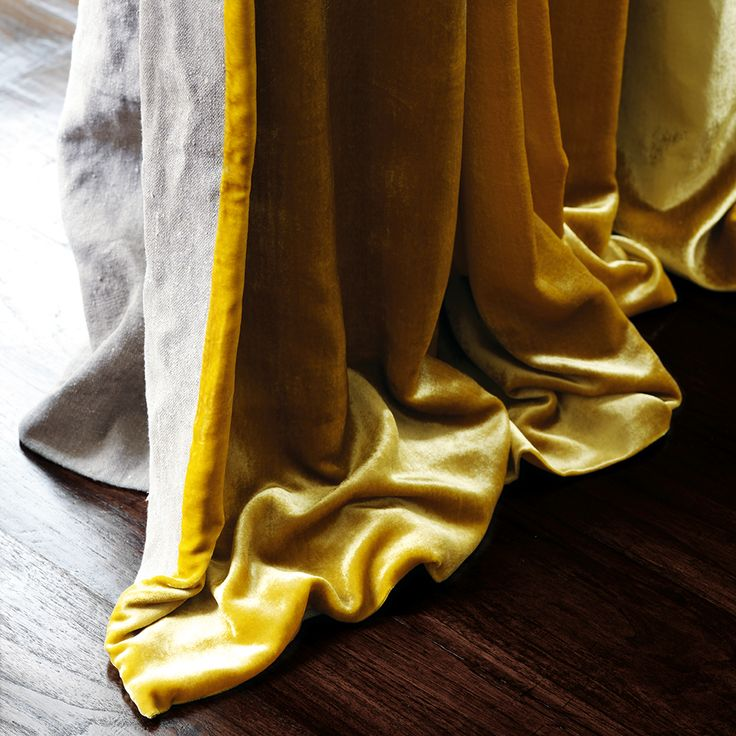 Velvet as Curtains. Glamour Liquid Velvet has a simply supurb quality. The robust cotton velvet offers a sharp sheen and glamour. Liquid Velvet has a directional pile so the colour is more intense with the pile running upwards.