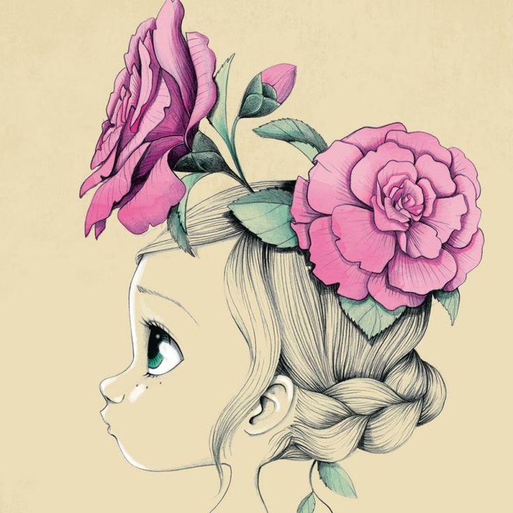 Ce tableau de décoration murale de chambre d'enfant Wild girl, d'Emmanuelle Colin apportera un univers enfantin et tendre dans la chambre d'une petite fille.
