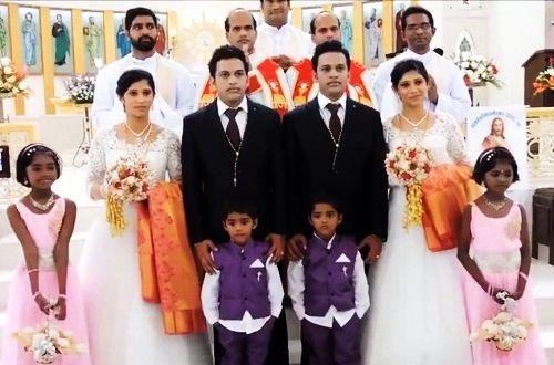 """Se vi state chiedendo """"Vedo doppio!?"""", la risposta è """"No! Sono tutti gemelli!"""" In India si sono presentati all'altare per celebrare un matrimonio: due ragazzi gemelli per sposare due bellissime gemelle, con una cerimonia svolta da due preti gemelli, con paggetti e damigelline sempre gemelli! Che dire? Un matrimonio originale quello che è stato celebrato a Kerala in India, riconosciuto tra i più buffi e gemellari del mondo!   C'è qualc"""