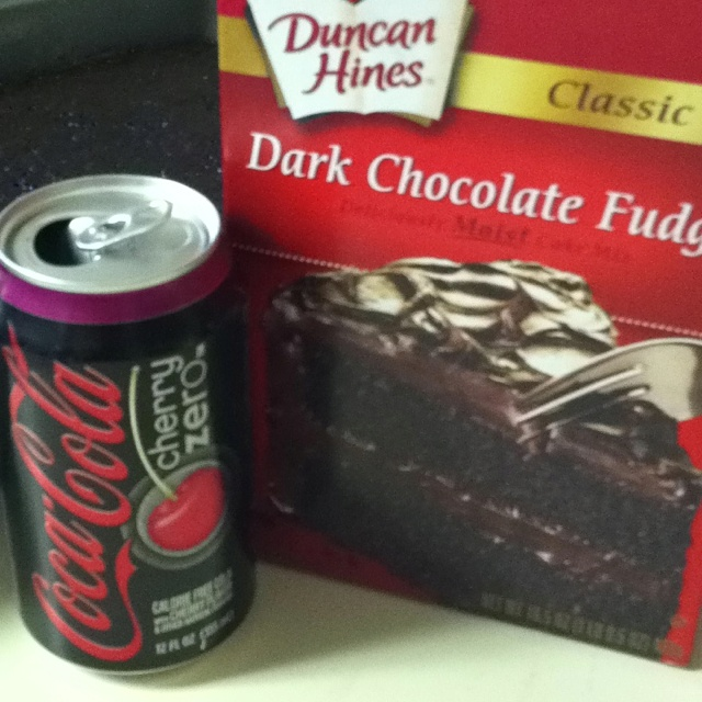 Dark chocolate/cherry coke zero cake - YUM