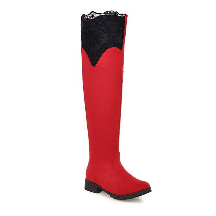 Lace Women Over the Knee Boots Low Chunky Heel 3495