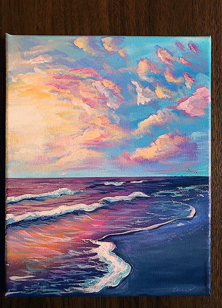 Acrylic Beach Landscape 8x10 Canvas Painting In 2020 Painting