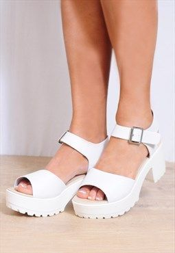 1812609ef8ef White Strappy Sandals Cleated Platforms Peep Toes Shoes  WomensNmdShoes