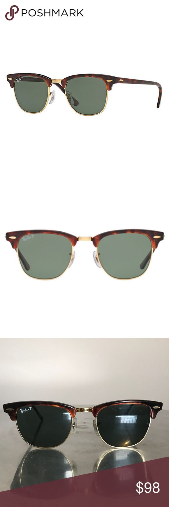 😎 RayBan ClubMaster Sunglasses Ray Ban Rb3016 Clubmaster Tortoise Sunglasses are an icon of heritage styling with their unmissable semi rimless frame shape. Draped in a classic Tortoise pattern ... 990/58 sizing 49/21 .... PreOwned. Scratches on lense but not that you can't see through them. Pretty good Condition. No case Ray-Ban Accessories Sunglasses