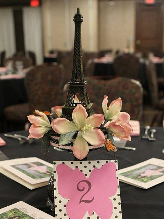 Eiffel Tower Centerpiece with butterflies and flowers by JVDecor