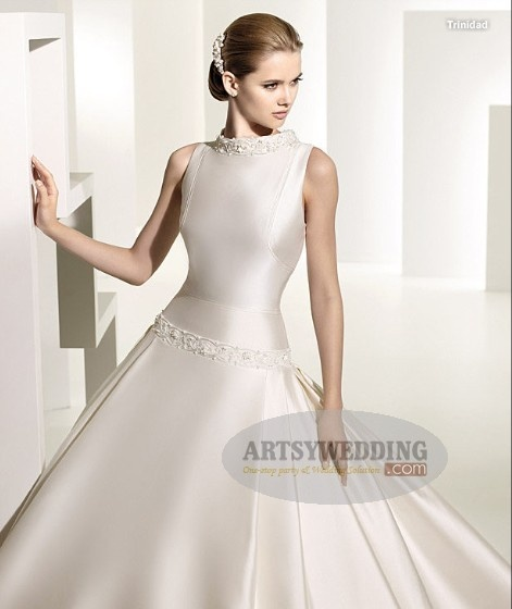 In this beaded neck satin ball gown with beaded dropped waist, you are definitely the most dazzling one $209.99