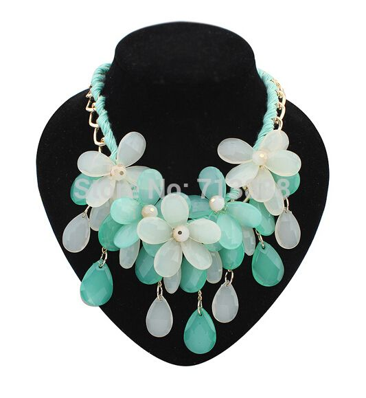 Find More Chain Necklaces Information about 2014 New Summer Fashion Jewelry Women Double Beaded Chain Link Water Drop Resin Flower Pendant Choker Necklace,High Quality Chain Necklaces from Winni Wu's store on Aliexpress.com