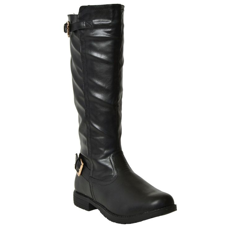 Womens Mid Calf Boots Casual Riding Western Double Adjustable Gold Buckles Black