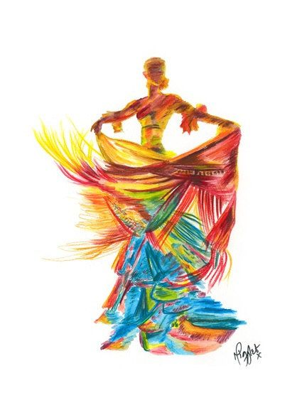 Flamenco Print - A Flamenco Print from my watercolour Flamenco Dancer painting titled 'FIRE DANCER'