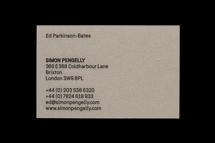 Business card for British furniture designer Simon Pengelly by Spin