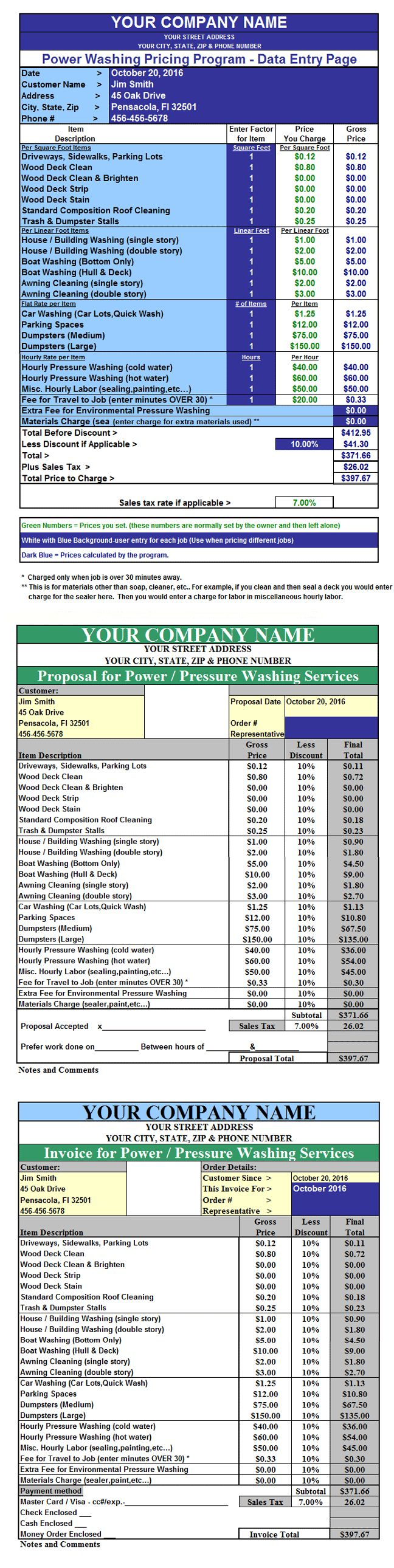 pressure washing invoicing quoting pricing program spreadsheet