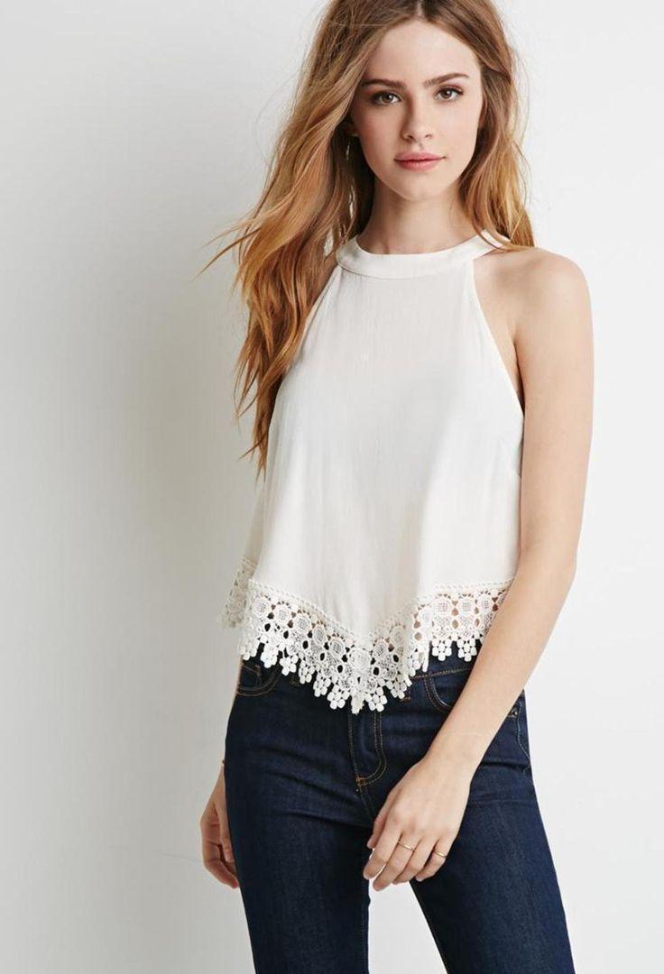 Crochet-Trimmed Crepe Top