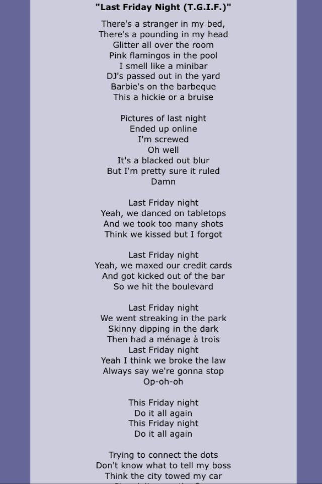 Katy Perry - Last Friday Night Lyrics | Musixmatch