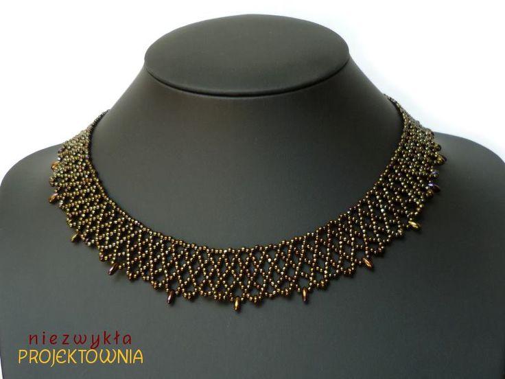 Naszyjnik koralikowa siatka, Toho Metallic Iris Brown #beading #toho #necklace