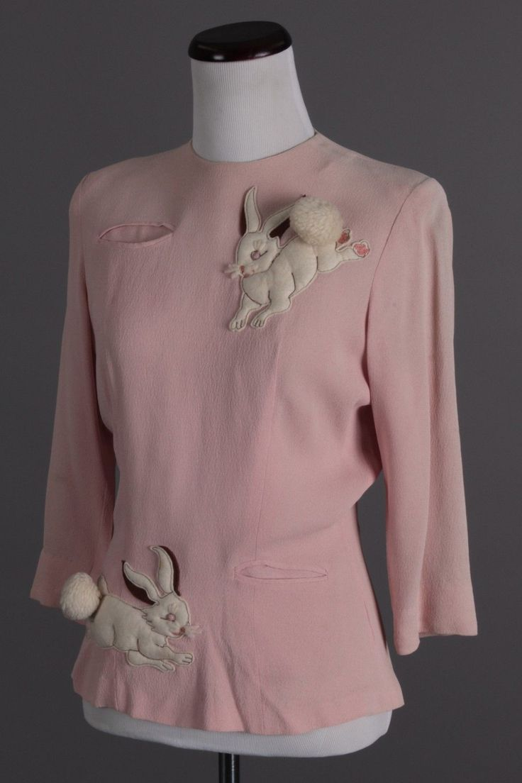 S M 1940s Vintage Mary Muffet Pale Pink Bunny Blouse | eBay