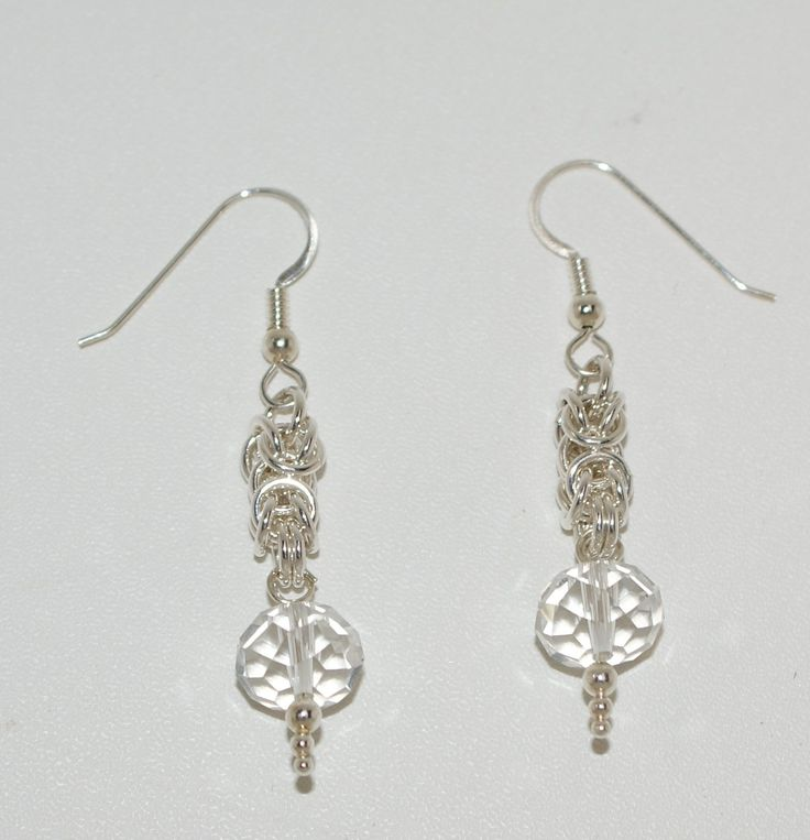 FACETED Antique Crystal & sterling silver earrings.  Handcrafted.