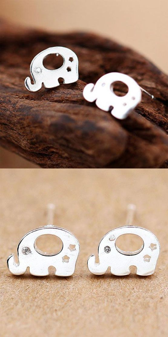 Sweet Animal Earring Studs Women Silver Elephant Earrings Studs for big sale ! #animal #earrings #studs #women #animal #elephant #silver