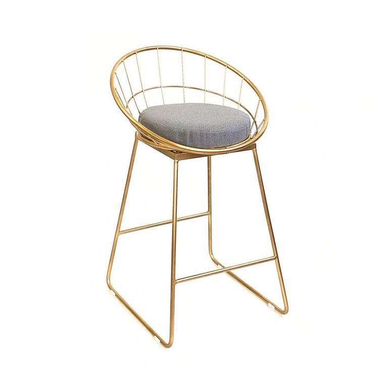 Chen- Continental Simple, Iron, Cotton Cushion, Bar Creative High Chair  European Chair 65de6e3fa37e