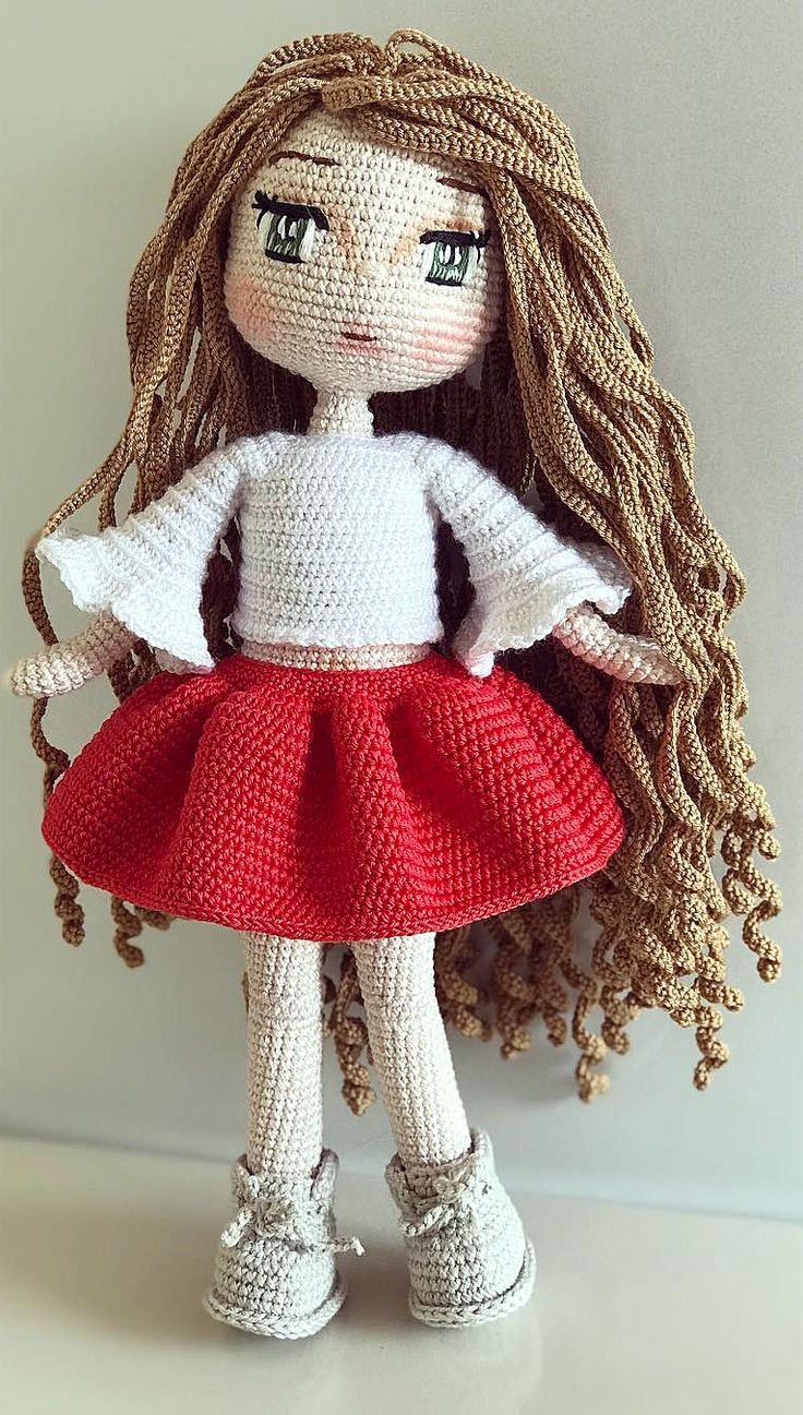 27 Taking Attention Amigurumi Doll Pattern Ideas. Crochet Girl Toy With Red Skirt. Web Page 7 of 27