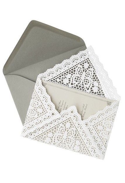 DIY Lace Doily Invitation Envelope  ...those are cute. I haven't the slightest what I would use them for, but CUTE.
