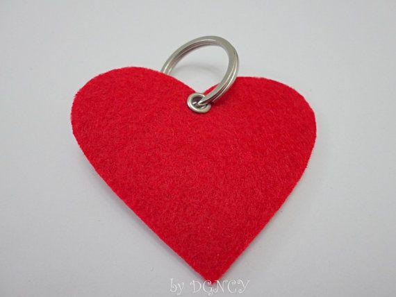 Red felt heart keychainFelt heartFelt keychain in by DGNCY on Etsy