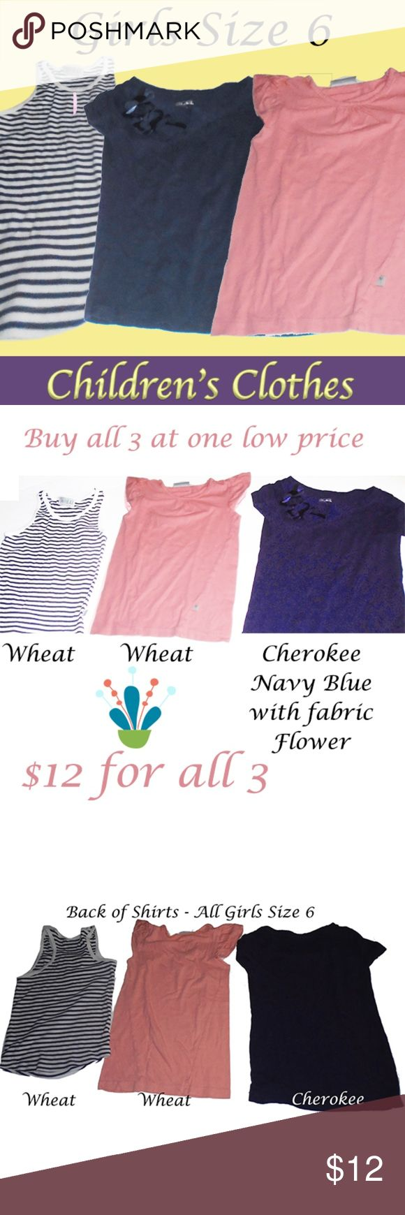 "3 girls size 6 tops - 2 EUC - Awesome Bargain You are buying all 3 tops! All at one low price of $12 for them. The Navy blue top has a fabric ""ribbon"" on one side (hard to see in the picture) - That one is made by Cherokee - size 6-6X. The other two are from the company Wheat - one is a peachy/pink and the other is black & white striped - both of those are size 6Y. All 3 are in excellent condition Assorted Shirts & Tops Tees - Short Sleeve"