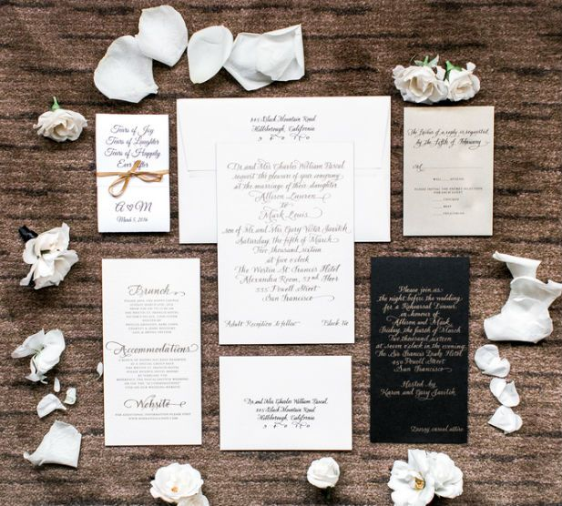 Elegant black and white wedding stationery suite (Photo by Vivian N Photos)