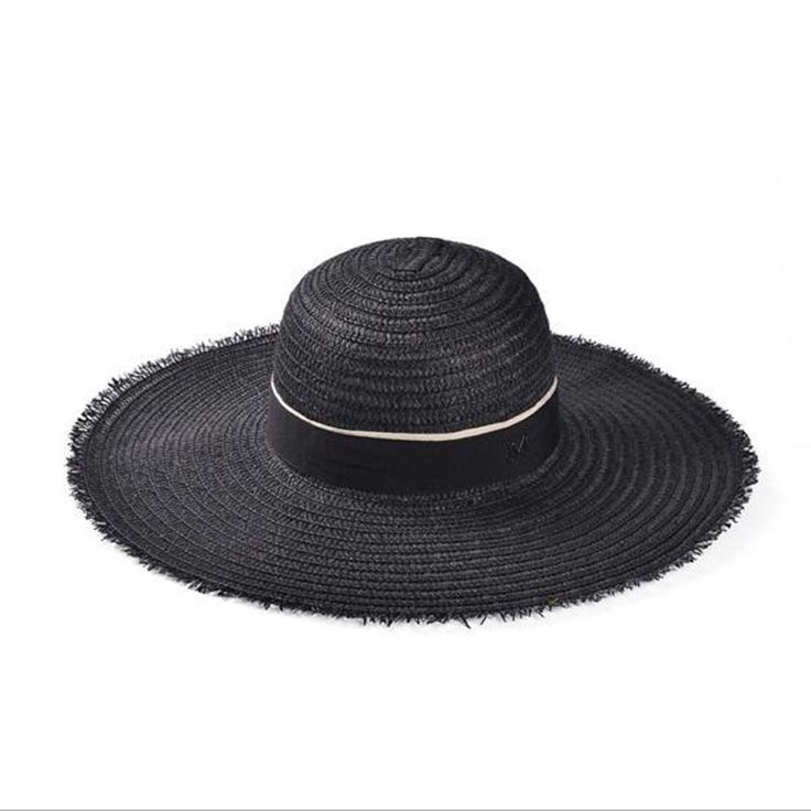 Maison Michel Summer Floopy Straw Hats Letter M Large Wide Brim Stylish Hat Fedora Beach Jazz Sun Hats For Women Free Shipping