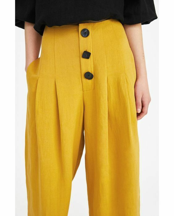 73a277d98f ZARA WOMAN Pleated Pants with Buttons trousers Yellow Black Sz M NEW ...