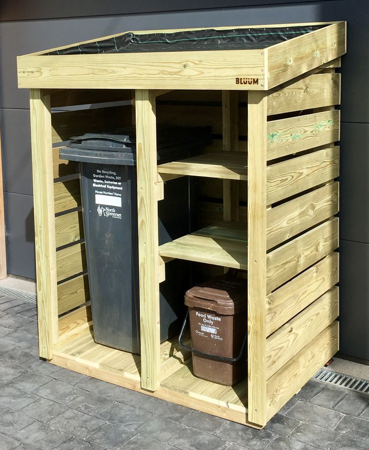 A Bluum Bin Store, hand-made to house a wheelie bin, two recycling boxes and a food caddy for a customer in Bristol (plants to be added!). This is a bin & recycling storage solution to tidy up the garden & driveway, with a living green roof area to add the wow factor to a utilitarian product. Each Bluum store is made from smooth planed, pressure treated and weighty timber, and is built to last.
