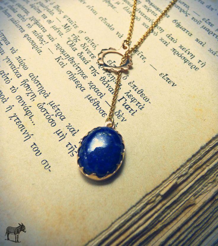 """ Lariat Lapis necklace "" - Χειροποίητο επίχρυσο μενταγιόν lariat με lapis lazuli !"