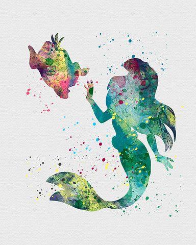 Little Mermaid Watercolor Art - VividEditions