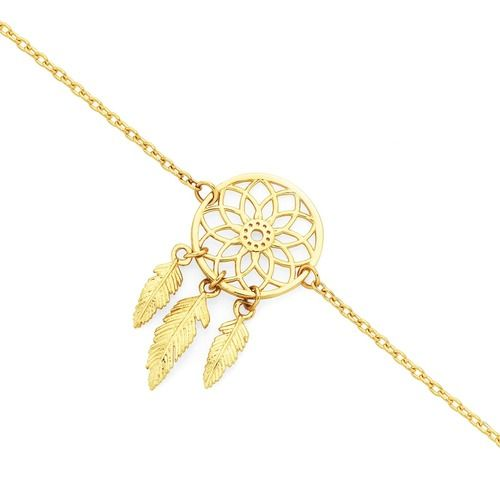 9ct Gold 19cm Dream Catcher Trace Bracelet
