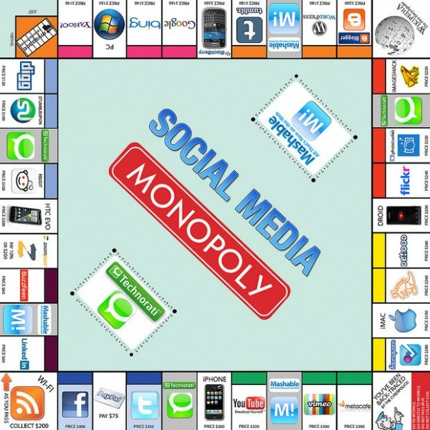 There's no monopoly in Social Media.  The beauty of it is the way it levels the playing field for all, even the little guy.