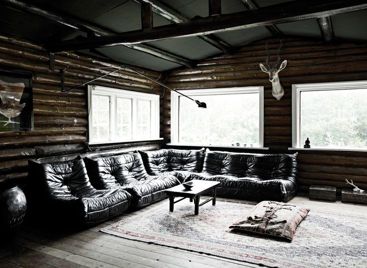 black leather ligne roset sofa