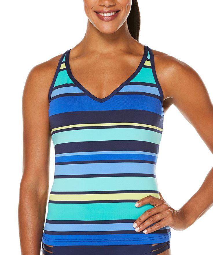 Navy & Turquoise Stripe Tankini Top