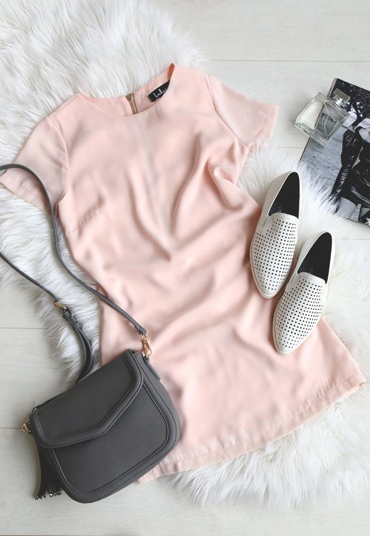 little pink dress with pointed toe oxford flats and grey crossbody bag