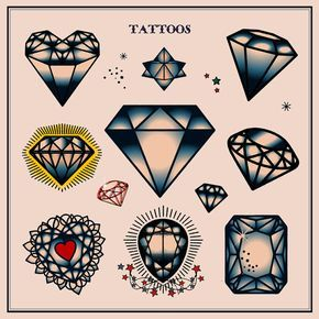 Set of Diamond Tattoos in Traditional Vintage by VectorClash