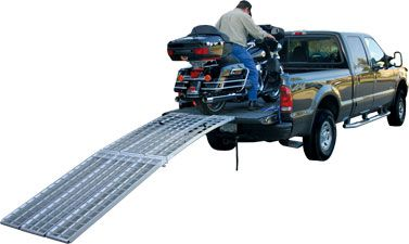 Our full size folding motorcycle loading ramps are the Cadillac of the loading ramp industry. This motorcycle ramp system gives you the freedom to load and unload a medium sized or large motorcycle safely with one person. These aluminum ramps are the lightest full size motorcycle loading ramps on the market today.